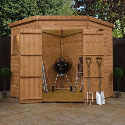 Adley 7' x 7' Pressure Treated Double Door Shiplap Corner Shed