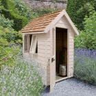 Hartwood 4' x 6' Painted Deluxe Redwood Overlap Apex Retreat Shed - Natural Cream