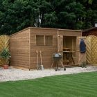 Adley 12' x 6' Pressure Treated Double Door Shiplap Pent Shed