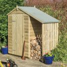 Rowlinson 4' x 3' Pressure Treated Shiplap Apex Shed with Lean To