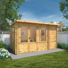 Adley 4.1m x 2.4m Hereford Log Cabin With Side Shed