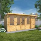 Adley 5.1m x 2.4m Hereford Log Cabin With Side Shed