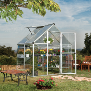 Palram 6' x 4' Nature Hybrid Silver Polycarbonate Greenhouse