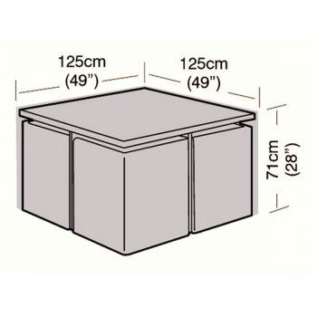 Cover Up - 4 Seater Rattan Cube Set Cover - Medium - 125cm