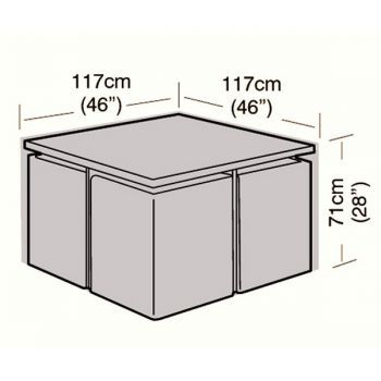Cover Up - 4 Seater Rattan Cube Set Cover - Small - 117cm