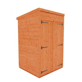 Redlands 4' x 4' Double Door Windowless Shiplap Modular Pent Shed
