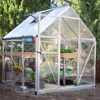 Palram 6' x 6' Nature Hybrid Silver Polycarbonate Greenhouse