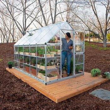 Palram 6' x 10' Nature Hybrid Silver Polycarbonate Greenhouse