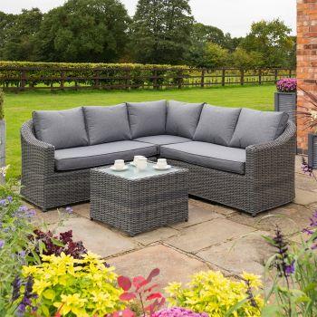 Rowlinson Bunbury Rattan Corner Set - Grey Weave