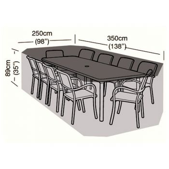 Cover Up - 10 Seater Rectangular Patio Set Cover - 350cm