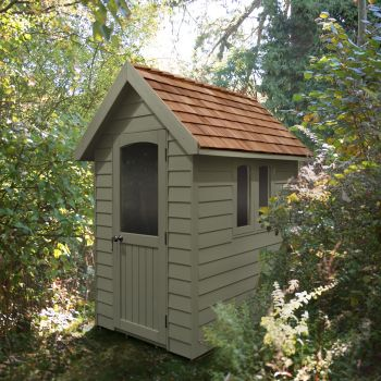 Hartwood 4' x 6' Painted Deluxe Redwood Overlap Apex Retreat Shed - Moss Green