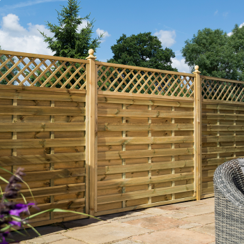 Rowlinson 6' x 6' Horizontal Weave Fence Panel With Slatted Top