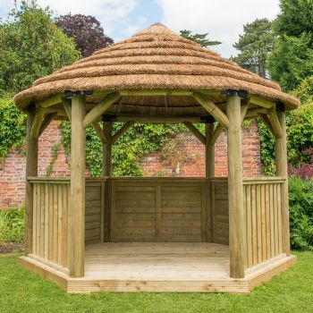 Hartwood 3.6m Premium Hexagonal Gazebo With Country Thatch Roof