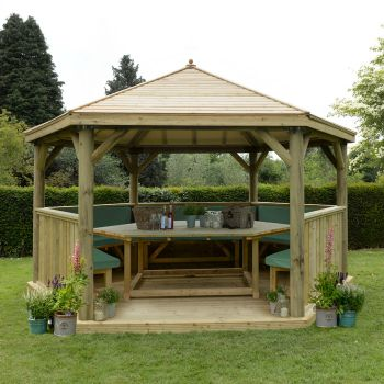 Hartwood 4.7m Fully Furnished Premium Hexagonal Gazebo With Timber Roof