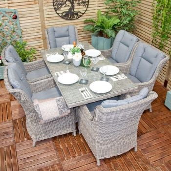Oren Athens 6 Seater Rectangular Rattan Dining Set