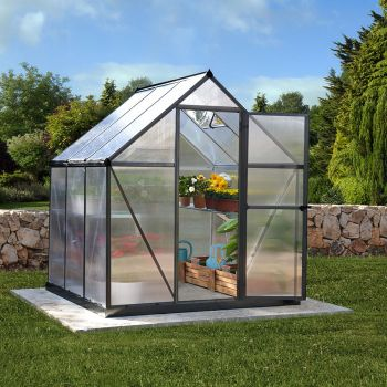 Palram 6' x 6' Mythos Grey Polycarbonate Greenhouse