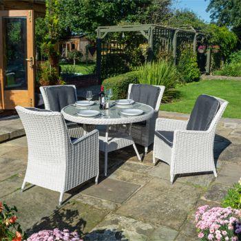 Rowlinson Prestbury 4 Seater Dining Set Putty Grey