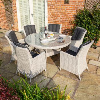 Rowlinson Prestbury 6 Seater Dining Set Putty Grey