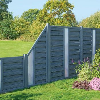 Rowlinson 3' x 6' Horizontal Hit & Miss Fence Panel With Opaque Insert - Close Boarded