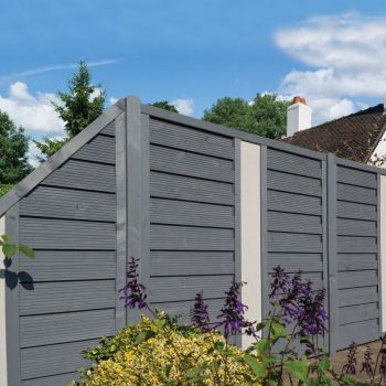 Rowlinson 3' x 6' Horizontal Hit & Miss Fence Panel With Solid Insert Angled - Close Boarded