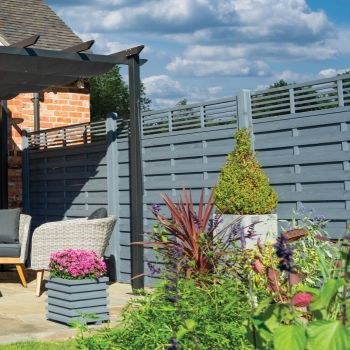 Rowlinson 6' x 3' Horizontal Hit & Miss Fence Panel With Slatted Top - Close Boarded