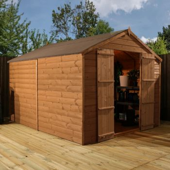Adley 8' x 10' Pressure Treated Windowless Double Door Shiplap Apex Shed
