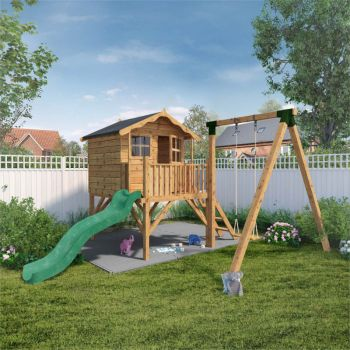 Adley Jellytot Cottage Tower Playhouse With Slide & Swing