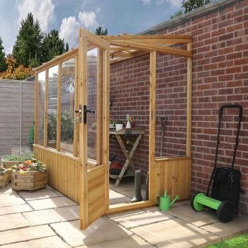 Adley 4' x 8' Premium Lean-To Wooden Greenhouse