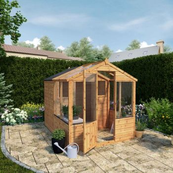 Adley 6' x 8' Budget Shiplap Greenhouse With a Shed
