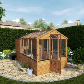Adley 6' x 12' Budget Shiplap Greenhouse With a Shed
