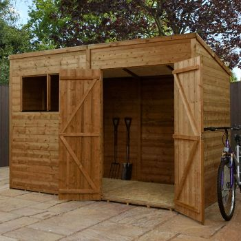 Adley 10' x 6' Pressure Treated Double Door Shiplap Pent Shed