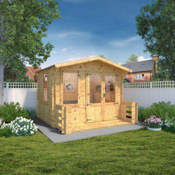 Adley 3.3m x 3.4m Newhaven Log Cabin with Veranda