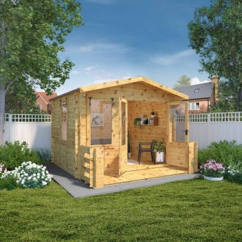 Adley 3.3m x 3.7m Newhaven Log Cabin with Veranda