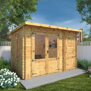 Adley 3.5m x 2.4m Hereford Log Cabin With Side Shed