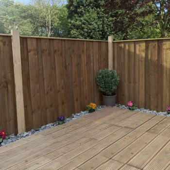Adley 3' x 6' Pressure Treated Vertical Hit & Miss Fence Panel - Closed Boarded
