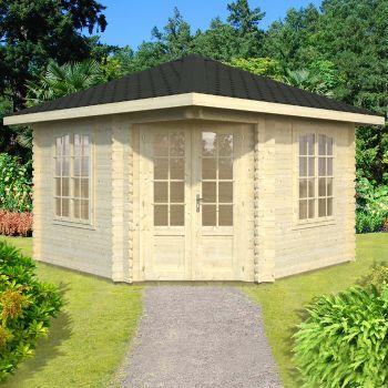 Stour 3.3m x 3.3m Premium Huntingdon Corner Log Cabin