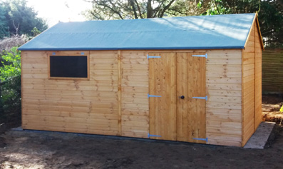 Adley 16' x 10' Premium Double Door Shiplap Reverse Apex Workshop